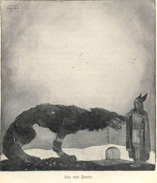 Tyr and Fenrir by John Bauer
