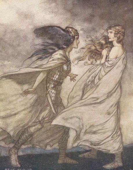 Brünnhilde is visited by her Valkyrie sister Waltraute by Arthur Rackham