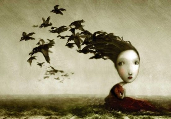 Girl with Black Birds by Nicoletta Ceccoli