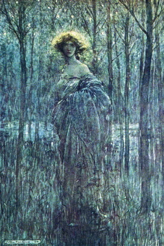 Woman in the Woods by Arthur Rackham