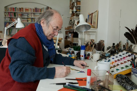 """Quentin Blake working in his studio"" by Olivia Hemingway"