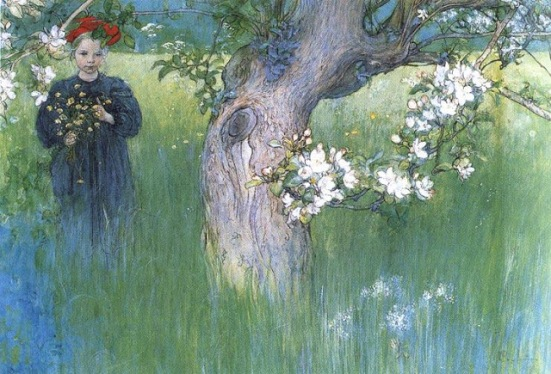 Apple Tree in Blossom by Carl Larsson